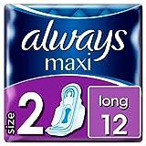 Always Maxi Long Damenbinden mit Flügeln Gr.2 (12 Stück) super saugfähriger Kern & verbesserter Auslaufschutz für sicheren Komfort