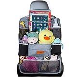 SURDOCA Autositz-Organizer – 4th Generation verbesserter Auto-Organizer Rücksitz für bis zu 10,5 iPad, 9 Taschen, Kinderspielzeug-Aufbewahrung, wasserdichter Rücksitzschutz für Kinder, Grau,1 Stück