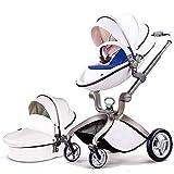 Hot Mom Kombikinderwagen mit Buggyaufsatz und Babywanne 2020, Kinderwagen 3 in 1Funktion, Babyschale...