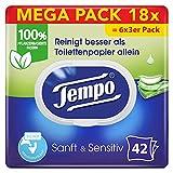 Tempo Toilettenpapier feucht Tempo feuchtes Toilettenpapier sanftundsensitiv Trio-Pack (18 Packungen...