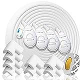 HAPPY CHLEA Kantenschutz Baby und 8 Eckenschutz aus Schaumstoff. Tischkantenschutz und Eckenschützer: 6,4 M gesamt für Tisch und Möbel Ecken. Türstopper, 4 Schubladensicherung. Zertifikat (Weiße)