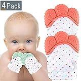 NEPAK 4 set Baby Teething Mitten Glove Baby Beißhandschuhe-Knisternder Handschuh für Babys-Age 2-12 Months- BPA free Silicon-Babys Handschuh Stimulierendes Beißring-Spielzeug für Jungen und Mädchen