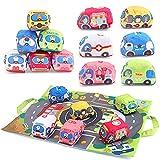 Amy & Benton Baby Rasseln Spielzeug für Neugeborene, Plüsch Auto Spielzeug 1 2 Jahr mit Spielmatte, Weiches Spielzeugauto für Junge Mädchen