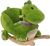 Bieco Plüsch Schaukeltier Dino | Kinder Schaukelstuhl mit Sicherheitsgurt | Baby Schaukel | Schaukel Kleinkind | Schaukeltier Baby Zimmer | Baby Schaukelwippe ab 9 Monate | Schaukelpferd Holz