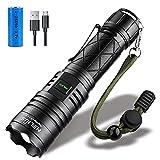 Led Taschenlampe, Extrem Hell 5000 Lumen CREE XHP70, 5 Modi, Zoombare, USB Wiederaufladbare Taschenlampe, IPX67 Wasserdicht, Wasserdicht für Camping, Wandern, Militär, Jagd, Outdoor Ausrüstung Fackell