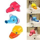 Musuntas 2pcs Wasserhahn Verlängerung Hahn Extender für Kinder Baby Hände waschen Badezimmer-Cartoon Tier Design Hand waschen Waschbecken Ente + Elefant