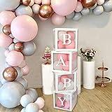 Babyparty-Dekorations-Box-Kit - 4-teilige weiße transparente quadratische Babyparty-Boxen,...
