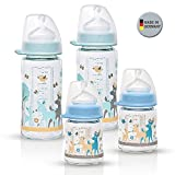 NIP Weithalsglasflasche Glas Flaschen Set Boy // 4er Set // Glas-Babyflasche // 120 ml & 240 ml // mit Weithalstrinksauger anatomisch, Silikon, Gr. 0+, Milch