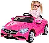 Kinder Elektroauto Mercedes Amg S63 - Lizenziert - 2 x 45 Watt Motor – Ledersitz - Sd-Karte – Usb - Mp3,- 12 Volt 10AH – Rc 2,4 Ghz Fernbedienung - Elektro Auto für Kinder ab 3 Jahre (pink)