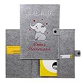 Cozy Racoon U-Heft-Hülle aus Filz mit Personalisierung/mit Name | 3- teiliges Set | Hochwertige Hülle für Untersuchungsheft, Impfpass und Versichertenkarte Deines Kindes | Design Elefant