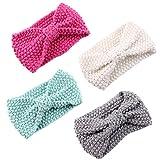 Fascigirl Baby Stirnband, 4Pcs Baby Mädchen Stirnband Bow Wolle Stricken Turban Stirnbänder für...