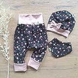 ANGEBOT Set - Hose, Schleifenmütze, Halstuch - Dunkelgrau kleine Rosen (Rose)) Baby Mädchen
