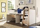 lifestyle4living Hochbett für Kinder in Eiche Sonoma Dekor, Weiß   Mit Leiter, schwenkarem...