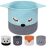 AXHOP Faltbarer Wäschekorb aus Baumwollseil, Spielzeugkorb Aufbewahrungskörbe für Kinder, Kleidung, Raumdekor, niedlicher Tier-Wäschekorb, Haustier-Geschenkkorb für Katze, Hund, Blauer Fuchs