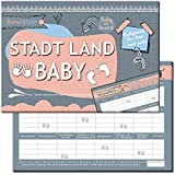 Baby Stadt Land Fluss Babyparty Babyshower Spiel Mädchen & Junge Geschenk Spiele-Block zum ausfüllen Geschenkidee