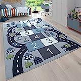 Paco Home Kinder-Teppich Für Kinderzimmer, Spiel-Teppich Mit Hüpfkästchen und Straßen, Grau,...