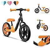Lionelo Alex Laufrad Kinder Fahrrad bis 30 kg Sattel und Lenker einstellbar 12 Zoll Eva Schaumräder robuste Konstruktion Lenkeinschlagsbegrenzung EN 71 (Orange)