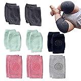 NEPAK 8 Paar Knieschoner Baby Krabbelhilfe mit Gummipunkte anti-Rutsch knieschoner kinder Jungen und Mädchen für 0-24 Monate