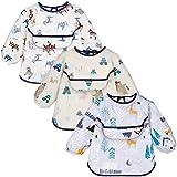 Yoofoss Baby Lätzchen mit Lange Ärmeln 3er Wasserdicht Ärmellätzchen Set für Junge Mädchen Unisex