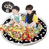 Baumwoll Kinderspielzeug Aufbewahrung - Kordelzug Aufbewahrungs-Matte Spielzeug Aufräumsack für Schnellere Aufräumung