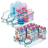 mDesign 2er-Set geteilter Aufbewahrungsbehälter für Babynahrung – kleine Flaschenaufbewahrung mit 3 Fächern – offener Vorratsbehälter für Lebensmittel, Pflegeprodukte und Spielzeug – meerblau
