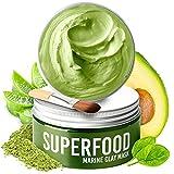 Gesichtsmaske mit Avocado & Superfoods 100ml   Gesicht Polierer aus Meereslehm   Gesichtsporen - Minimierer   Reinigt Pickel und entgiftet die Haut   Gesichtsmasken Beauty