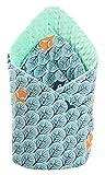 Einschlagdecke Steckkissen Minky 100% Baumwolle 75x75 cm Schlafsack doppelseitiges weich ganzjährig multifunktional antiallergisch Babys Medi Partners (Wald mit minzer Minky)