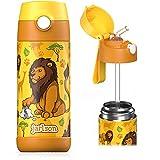 JARLSON® Trinkflasche Kinder - TÜV geprüft - Thermo Edelstahl Wasserflasche 350ml - BPA frei - auslaufsicher - Kinderflasche mit Strohhalm - Flasche für Schule, Kindergarten (Löwe 2)