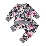 Beikoard Baby Langarm Blumendruck-Pullover-Set Neugeborenes Baby Mädchen Kleidung Mantel Floral Hosen Leggings Outfits Set