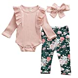 Geagodelia Babykleidung Set Baby Mädchen Langarm Body Strampler + Blumen Hose + Stirnband...