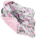 Jukki® MINKY Einschlagdecke mit Kapuze Babyschale für Kindersitz im Auto oder Kinderwagen, Baby Decke Kuscheldecke, Babydecke ideal für Reisen    90cm x 90cm