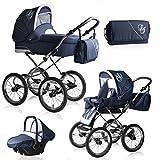 Bebebi Loving | 3 in 1 Kombi Kinderwagen Komplettset | Nostalgie Kinderwagen | Farbe: Blue Ardent