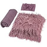 ZOYLINK ZOYLINK Newborn Wrap, 3 Stücke Baby Decke Haarband DIY Newborn Shooting Requisiten Accessoires Foto Requisiten Baby Teppich Knit Wrap für Baby Fotografie Taufe Fotoshootings (purple, Medium)
