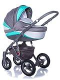 Kombi Kinderwagen Travel System Adamex Barletta New B2 3in1 Buggy Sportwagen Babyschale Autositz in schwarz Kite 0-13kg