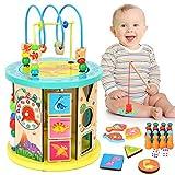 WloveTravel Motorikwürfel,Holzwürfel Wooden Activity Cube Bead Maze 10 in 1 Holzspielzeug,Mehrzweck-Lernspielzeug für Baby,Kinder, Kleinkinder
