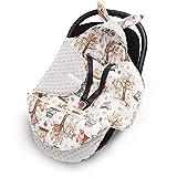 EliMeli Baby Einschlagdecke, Universal für Babyschale, Autositz, Kinderwagen Buggys und Babybett, Sehr Hohe Qualität, Minky Decke (Grau - Waldfreunde)
