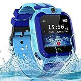 Smartwatch Kinder Wasserdicht Uhr Phone Kinder LBS Tracker mit SOS Voice Chat Kinder Smart Watch für Jungen und Mädchen Geburtstagsgeschenk (Blue)