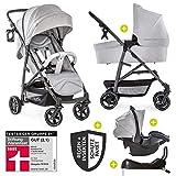 Hauck 11-teiliges Kinderwagen Set 3in1 - Rapid 4S Plus Trio Set - inkl. Babyschale & Isofix-Basis fürs Auto + Zubehörpaket/Kombikinderwagen ab Geburt bis ca. 25 kg - Lunar Stone