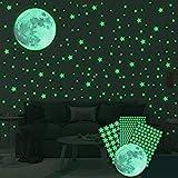 Ahsado Wandsticker selbstklebend Leuchtsticker Wandtattoo,334 pcs Leuchtsterne/Leuchtpunkte Mond...