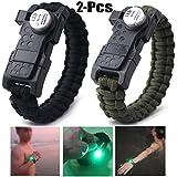 Fansport 2 Stück Überlebens Armband Notfallarmband Multifunktionales praktisches LED Licht Armband im Freien