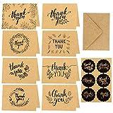 HOWAF Dankeskarten,24 Stück Braune Papier Dankeskarte Grußkarten mit Umschlag,Dankekarten Klappkarten für Thanksgiving Day Grüße, Abschlüsse,Geschenk,15x10cm