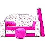 H38 Kindersofa Kinder Sofa Couch Schlafsofa Baby Kinderzimmer Bett gemütlich (rosa Sterne)