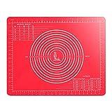 SUPER KITCHEN Silikonmatte mit Abmessungen(50×40cm) für Silikon-Backmatten, Antihaftbeschichtete Backunterlage,Backmatte Platzmatte für Teig-Kneten und für Teig/Fondant/Tortekruste, (Rot)