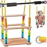 alles-meine.de GmbH Gitterschaukel aus Holz + Türreck / Kinderschaukel - Leichter Einstieg ! - mitwachsend & verstellbar - Schaukel & Babyschaukel - Kleinkindschaukel verstellbar..