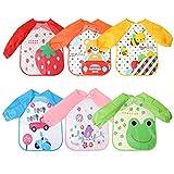 Fascigirl 6 Stk Baby Lätzchen mit Ärmeln, Abwaschbare Ärmellätzchen Wasserdicht latz Baby Kinder...