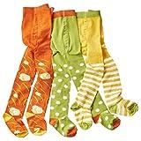 wellyou Baby- und Kinderstrumpfhosen Set für Mädchen grün/weiß Punkte & Blumen Größe 62-146