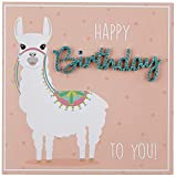 Perleberg Geburtstagskarte Lettering - Happy Birthday, Lama - 15 x 15 cm, 7782033-2
