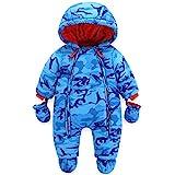 Baby Winter Overall Mit Kapuze Jungen Schneeanzüge mit Handschuhen und Füßlinge Warm Kleidungsset 3-6 Monate