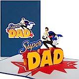"""PaperCrush Pop-Up Karte """"Super Dad"""" - Lustige 3D Geburtstagskarte für den besten Papa der Welt, Glückwunschkarte zur Geburt für Vater - Baby Geburtskarte für Mann, Männer Geschenkkarte zum Geburtstag"""