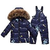 SXSHUN Baby Mädchen Jungen Daunenjacke Winterjacke mit Künstliches Fell Kapuze + Daunenhose Stepphose Skihose Schneehose 2tlg Bekleidungsset Schneeanzug, Blau, 104/110 (Etikettengröße:110)